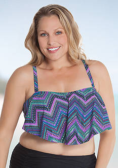 Aqua Couture Plus Size Enchanted Zigzag Flounce Bandeau