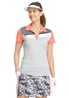 IZOD Golf Women's Knit Angle Colorblock Polo Shirt