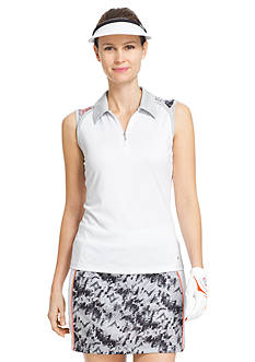 IZOD Golf Women's Sleeveless Printed Yoke Polo Shirt
