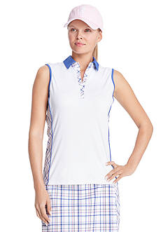 IZOD Golf Women's Sleeveless Plaid Trim Polo Shirt