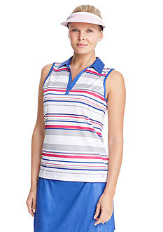 IZOD Golf Women's Sleeveless Striped Polo Shirt