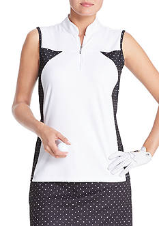 IZOD Sleeveless Dot Print Polo