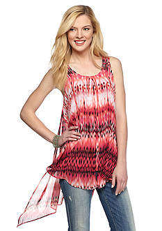 New Directions Printed Flyaway 2Fer Blouse
