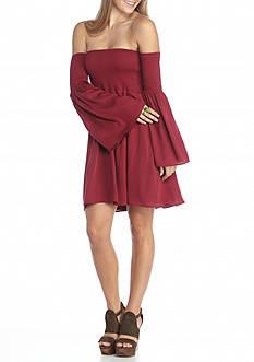 BLU PEPPER Smocked Cold Shoulder Dress