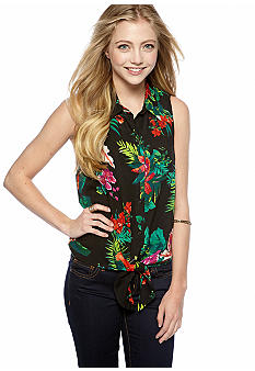 circles and cycles Tie Front Sleeveless Floral Top