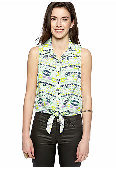 circles and cycles Tie Front Printed Top