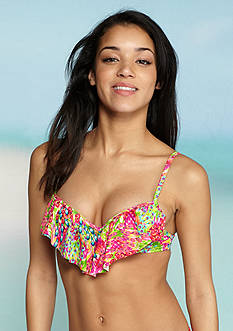 Hobie Fly Free Underwire Ruffle Push Up Swim Bra