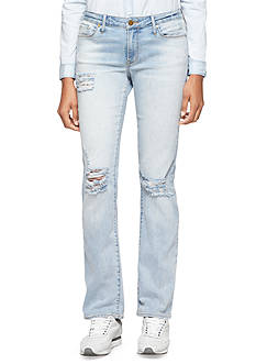 Calvin Klein Jeans Destroyed Straight Leg Jeans