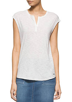 Calvin Klein Jeans Cap Sleeve Henley Top