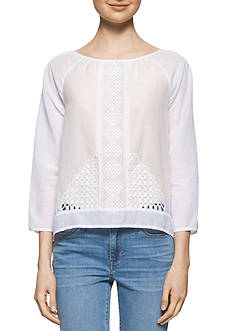 Calvin Klein Jeans Lace Pieced Peasant Top