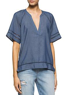 Calvin Klein Jeans Chambray Elbow Sleeve Top