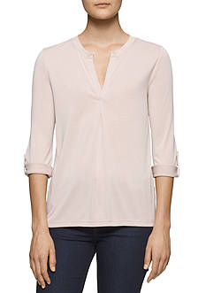Calvin Klein Jeans Faux Suede Roll Sleeve Top