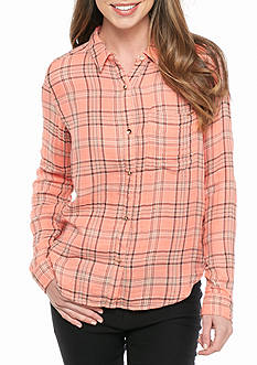 Calvin Klein Jeans Plaid Crinkle Woven Top