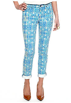 Calvin Klein Jeans Pop Ikat Skinny Ankle Pant with Rolled Hem