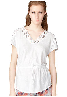 Calvin Klein Jeans Tie Waist Embroidered Eyelet Top