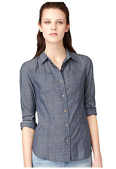 Calvin Klein Jeans Fitted Denim Button Down Shirt with Patch Pockets