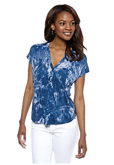 Calvin Klein Jeans Printed Pleated Henley Top