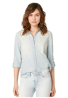 Calvin Klein Chambray Boyfriend Button Down Blouse