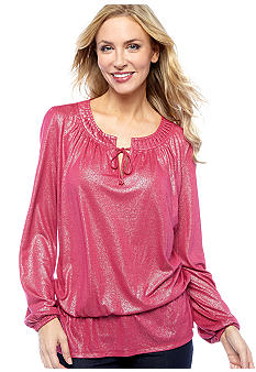 Jones New York Signature Misses Pleated Scoop Neck Top