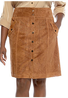 Jones New York Signature Plus Size Suede Safari Skirt