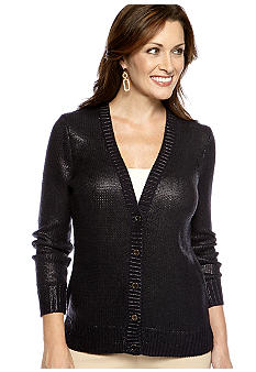 Jones New York Signature Long Sleeve V Neck Cardigan