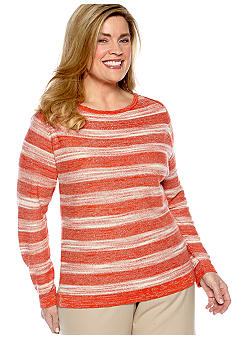 Jones New York Collection Plus Size Long Sleeve Envelope Neck Stripe Sweater