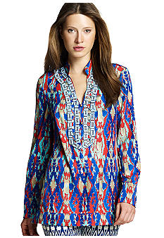 Jones New York Signature Three Button Embroidered Tunic