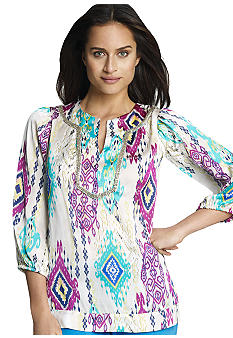 Jones New York Signature 3/4 Sleeve Embellished Tunic
