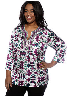 Jones New York Signature Plus Size Embellished Tunic