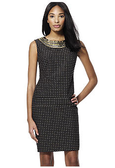 Jones New York Collection Shift Dress With Embellished Neckline