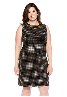 Jones New York Signature Plus Size Shift Dress with Embellished Neckline