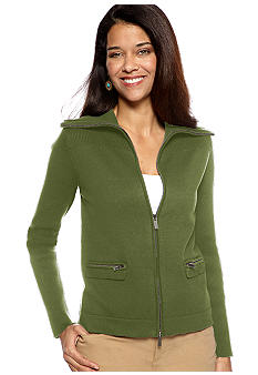 Jones New York Signature Petite Long Sleeve Zipper Front Knit Jacket