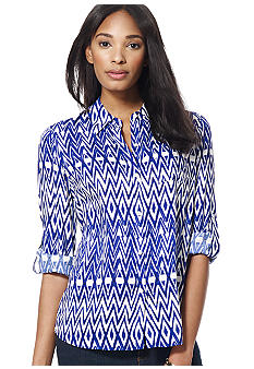 Jones New York Signature Printed Roll Sleeve Blouse