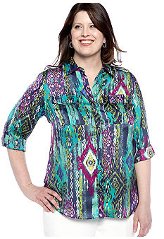 Jones New York Signature Plus Size Roll Sleeve Shirt