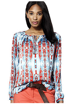 Jones New York Signature Pleated Raglan Sleeve Blouse