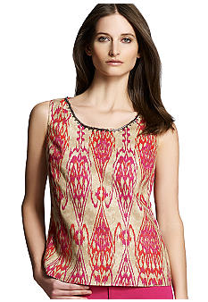 Jones New York Signature Petite Embellished Linen Tank