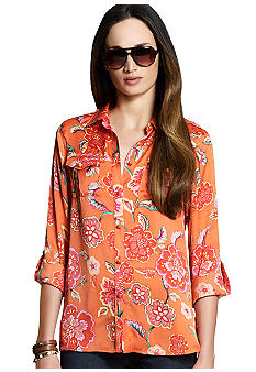 Jones New York Signature Roll Sleeve Safari Shirt