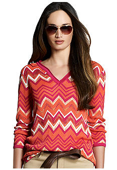 Jones New York Signature Three Quarter Sleeve Zig Zag Sweater