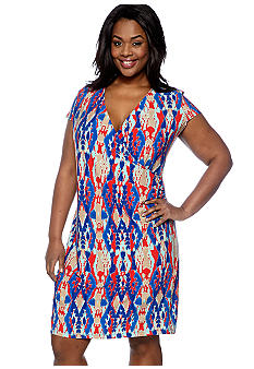 Jones New York Signature Plus Size Cap Sleeve Wrap Dress