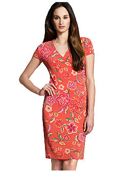 Jones New York Signature Floral Print Cap Sleeve Dress