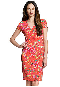 Jones New York Signature Petite Floral Print Cap Sleeve Dress