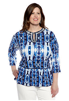 Jones New York Signature Plus Size Tunic with Embellished Split Neckline