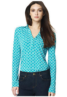 Jones New York Signature Long Sleeve Printed Popover Top