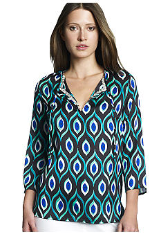 Jones New York Signature Print V-Neckline Tunic