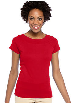 Jones New York Signature Cap Sleeve Ballet Neck Top