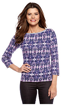Jones New York Signature Three-quarter Sleeve Top with Denim Trim