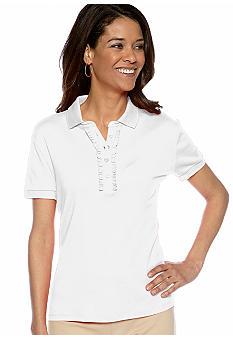 Jones New York Signature Petite Front Ruffle Knit Top
