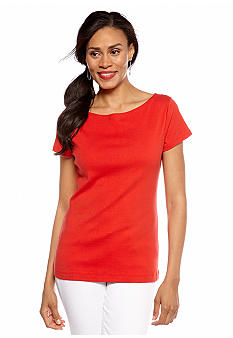 Jones New York Signature Plus Size Cap Sleeve Ballet Neck Top