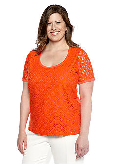 Jones New York Signature Plus Size Lace Front Top