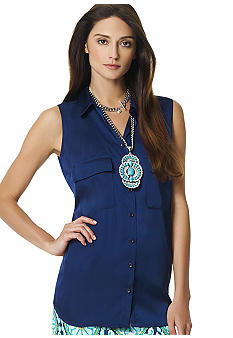 Jones New York Signature Sleeveless Two Pocket Top